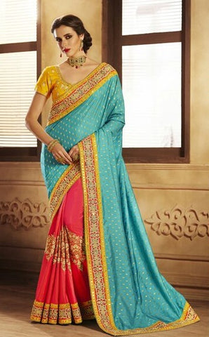 Blue Silk Jacquard Saree With Yellow Blouse