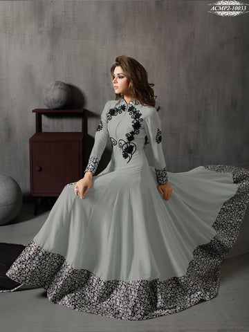 Grey,Georgette,Designer party wear suits