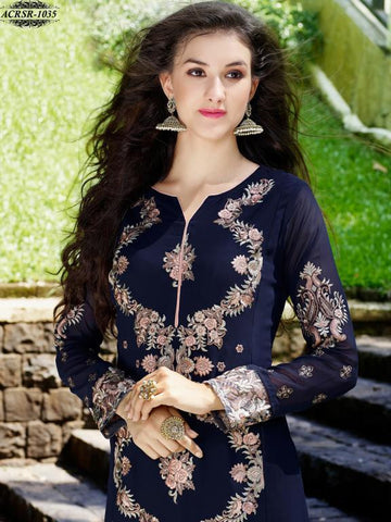 Blue,Georgette,Designer straight long suits with embroidery work