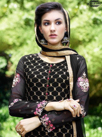 Black,Georgette,Designer straight long suits with embroidery work