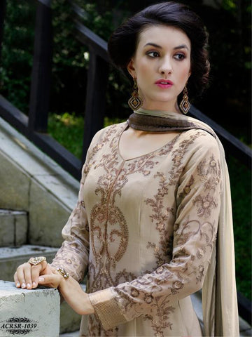 Beige,Georgette,Designer straight long suits with embroidery work