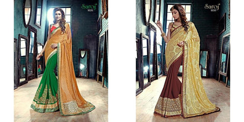 Green , Brown,Georgette,Designer partywear saree