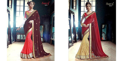 Brown , Pink,Georgette,Designer partywear saree