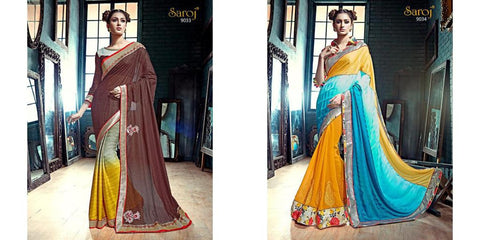 Multicolor,Georgette,Designer partywear saree