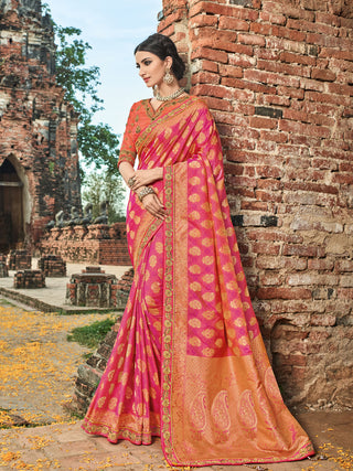 Pink Silk Party Wear  Saree With Orange Blouse