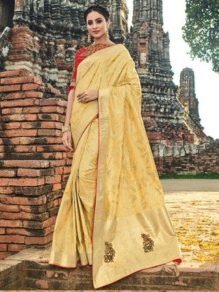Yellow Silk Party Wear  Saree With Red Blouse