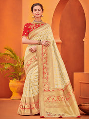Beige Gold Two Tone Silk Jacquard Party Wear Saree With Blouse