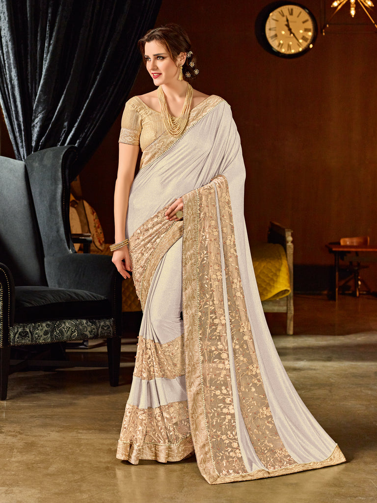 97f66386a447de Buy Online Off-White And Beige Sarees For Women – Banglewale International
