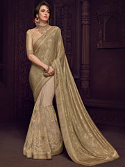 Gold Imported Fabrics Party Wear  Saree With Gold  Blouse