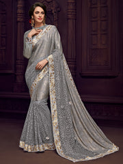 Grey Imported Fabrics Party Wear  Saree With Grey Blouse