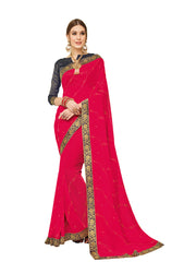 Red Silk Party Wear Saree With Purple Blouse