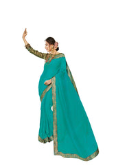 Cyan Chiffon Party Wear Saree With Green Blouse