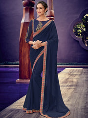 Navy Blue Chiffon Party Wear Saree With Navy Blue Blouse