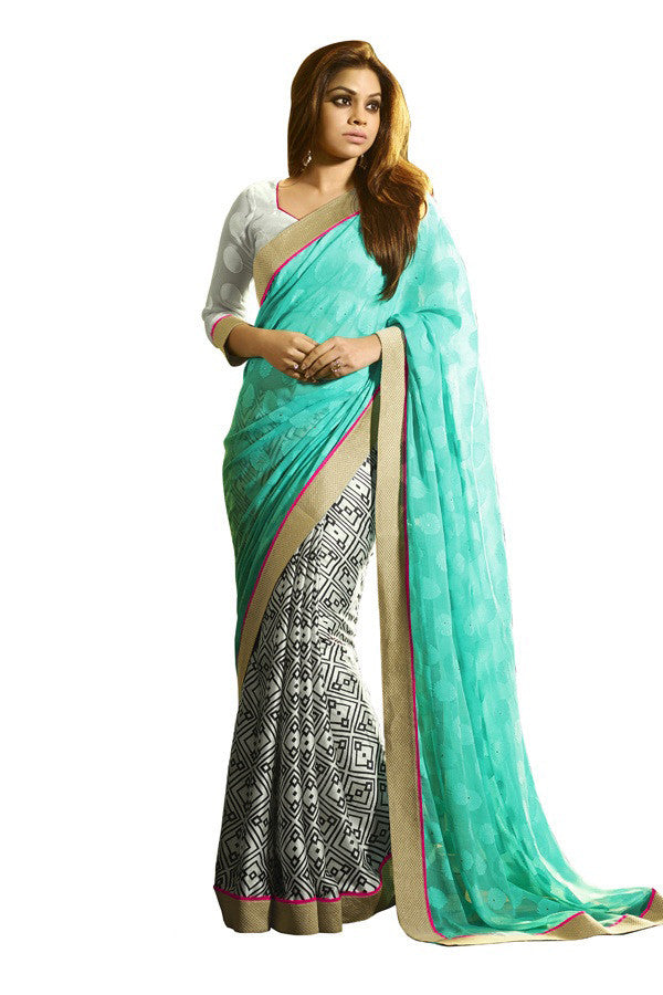 69fd8696c Shop Online Cyan Blueand Off White Sarees On Cash On Delivery – Banglewale  International