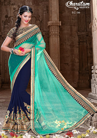 Saree Cyan , Blue,Georgette