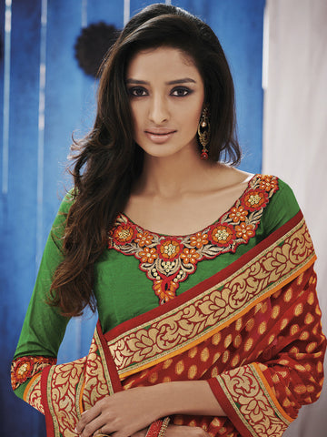 Designer Jacquar Saree,Orange saree,Green Blouse,