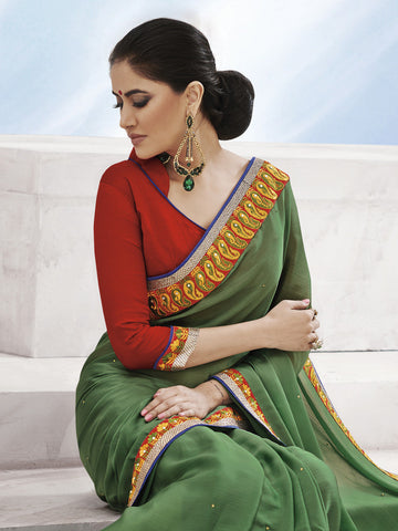 Designer Saree,Green Saree,Red Blouse,Satin Chiffon Saree