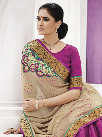 Magenta and peach color jacquard saree