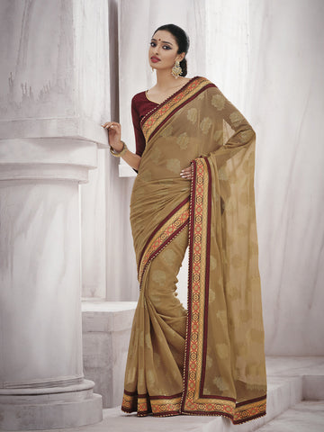 Light golden chiffon saree with maroon blouse