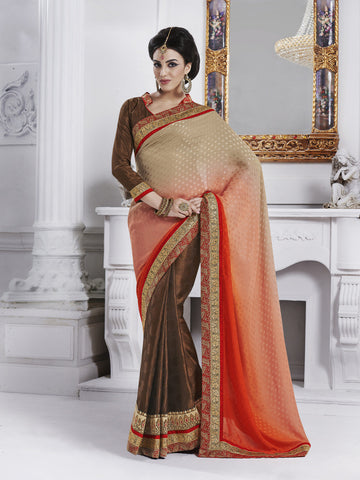 Jacquard saree with multishade pallu