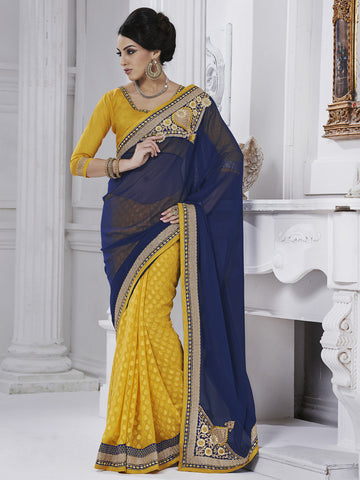 Georgette yellow saree with blue color blouse