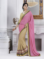 Astonishing light voilet pallu saree with beige skirt base