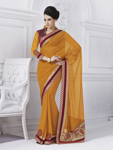 Yellow and red brasso saree and raw silk blouse