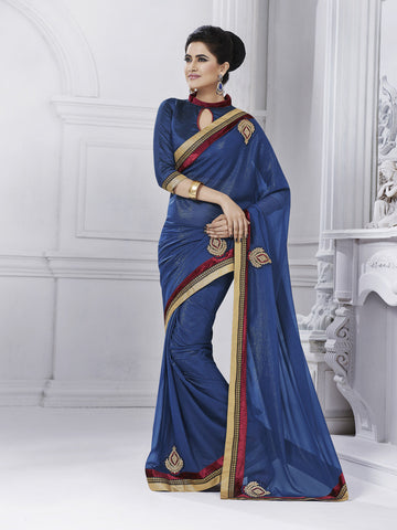 Designer chiffon blue saree and raw silk blouse