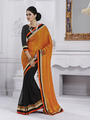 Black and orange chiffon saree