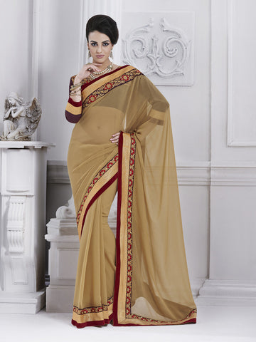 Beige color saree with grey blouse