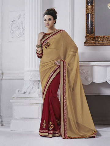 Designer Saree of beige and red color