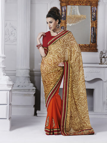 Golden and orange saree with maroon blouse