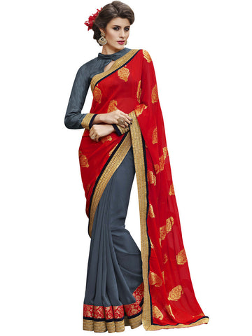 Designer red and grey georgette saree