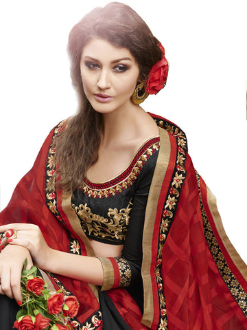 Saree Red , Black,Checks Jacquard