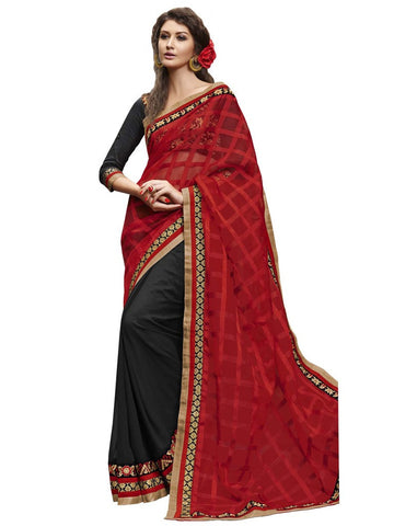 Red and Black Saree with checks