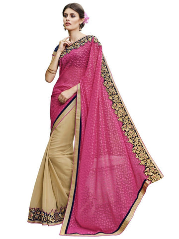 Pink pallu and beige saree with blue blouse
