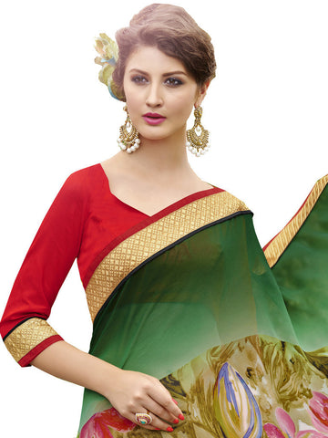 Saree Green , Red,Georgette Print
