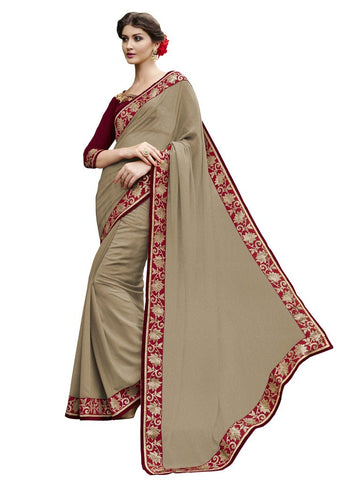 Chikoo color georgette saree