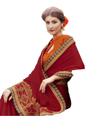 Saree Red,Satin Chiffon