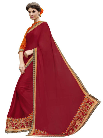 Red and orange satin chiffon saree with fancy border