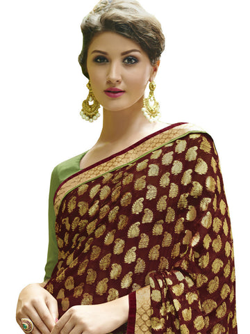 Saree Marron , Green,Viscose Jacquard