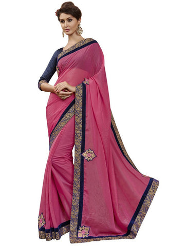 Pink and blue saree of sparkle chiffon with heavy border
