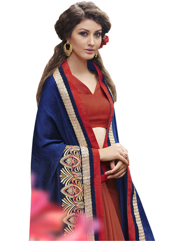 Saree Navy Blue,Self Jacquard