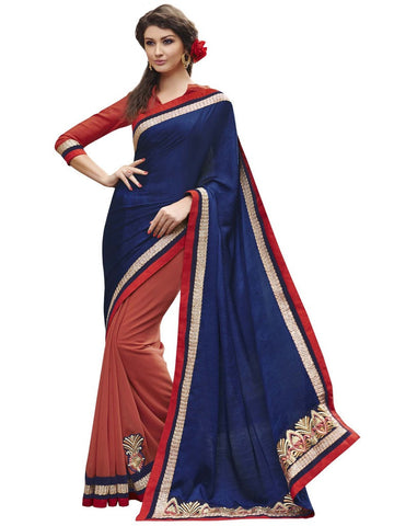 Red and blue self jacquard saree with georgette and raw silk blouse