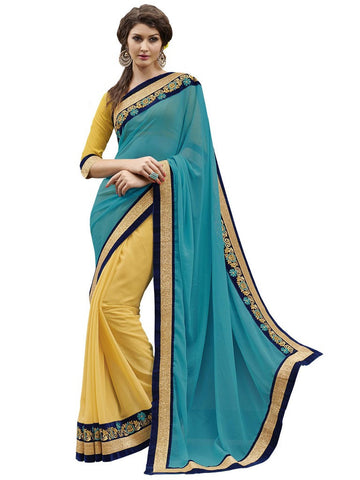 Yellow and turquoise saree