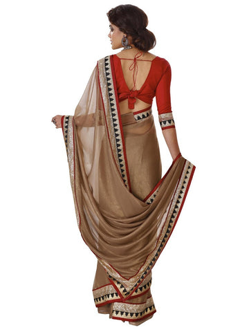 Golden and maroon blouse saree