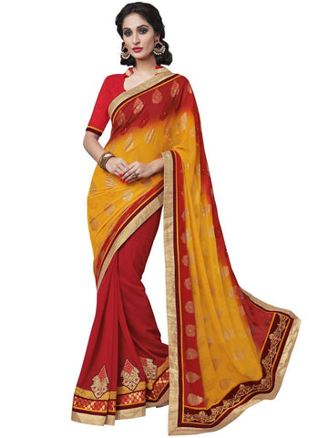 Saree Red , Yellow,Georgette Print