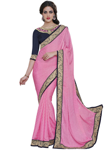 Saree Pink  ,Satin Jacquard