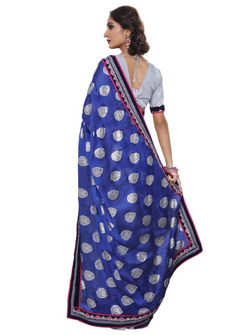 Blue and grey chiffon saree