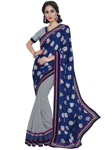 Saree Navy Blue , Grey,Satin Chiffon